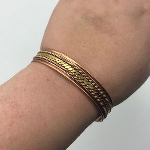 Copper and Gold Toned Metal Cuff Unbraneded Vintag